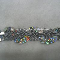 beautiful lace with silver holographic sequins
