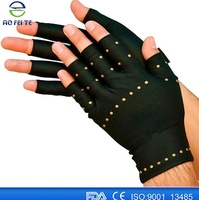 New Black Copper Arthritis Glove Recovery Compression Half Finger Gloves