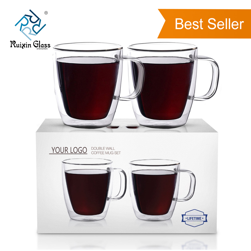 Fancy Borosilicate Double Wall Glass Coffee Mugs
