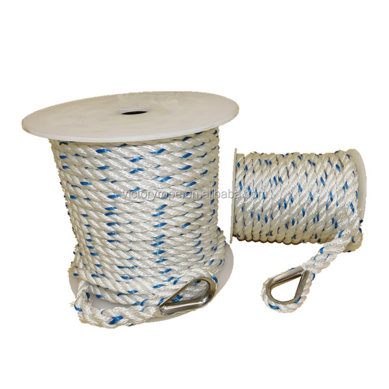12mm polyester 3 strand anchor rope twist rope for yachts