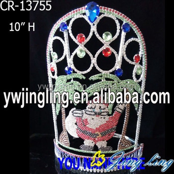 Large Santa Tall Round Rhinestone Christmas Pageant Crowns For Party
