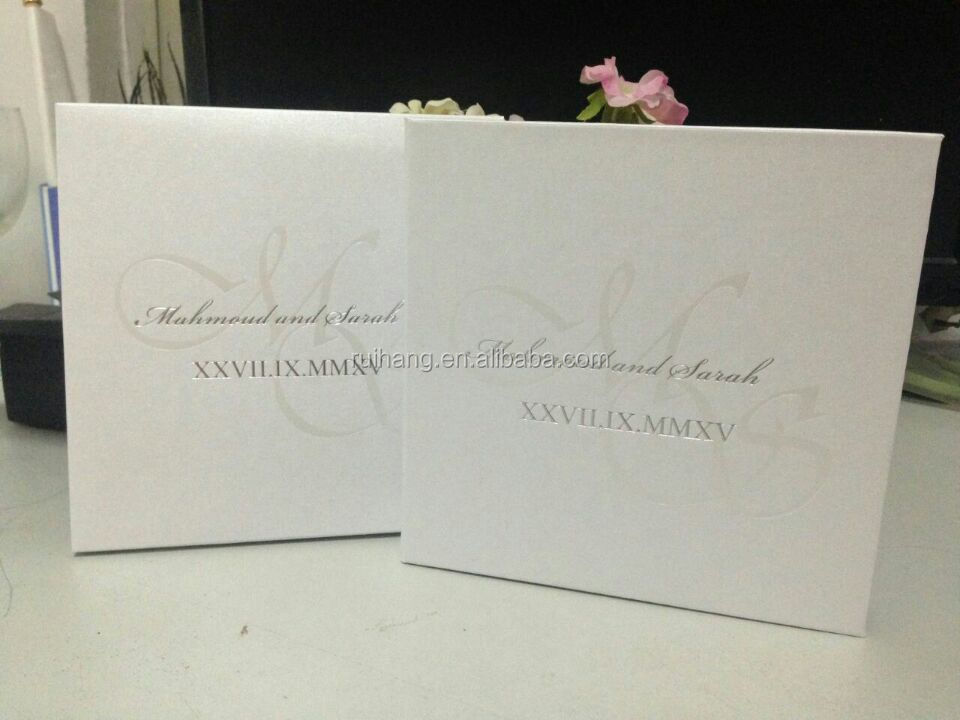 White Foil Stamp like a book Pocketfold Wedding Invitations Sea Summer Luxury Style hardover