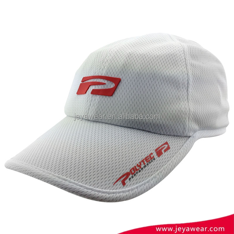 Wholesale Bulk Outdoor Cheap Custom white cycling sport running dry fit cap golf hat with pvc rubber badge