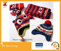 Kids funny earflap crazy baby winter hat scarf glove set with animal pattern