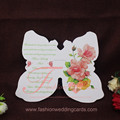 Unique White Color Butterfly Wedding Theme Elegent Acrylic Invitation with color printing