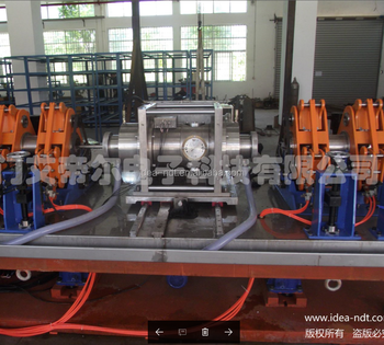 Rotary ultrasonic machine for high speed tube testing directly in the production line
