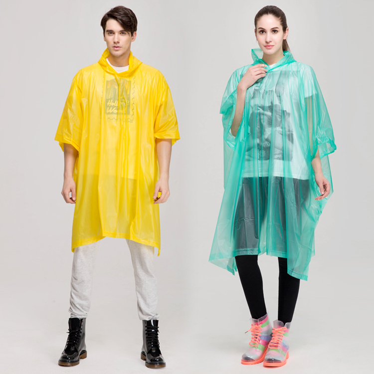 mens or women sexy yellow or transparent long hooded adult pvc poncho and pvc raincoat