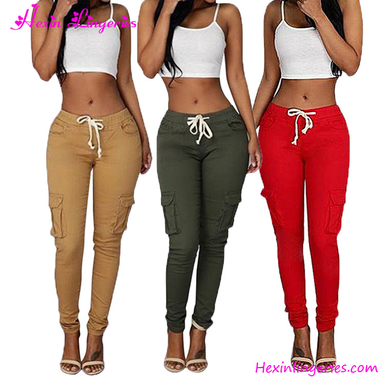2017 Variety Colours Leisure Pockets Cargo Women Trousers Pants