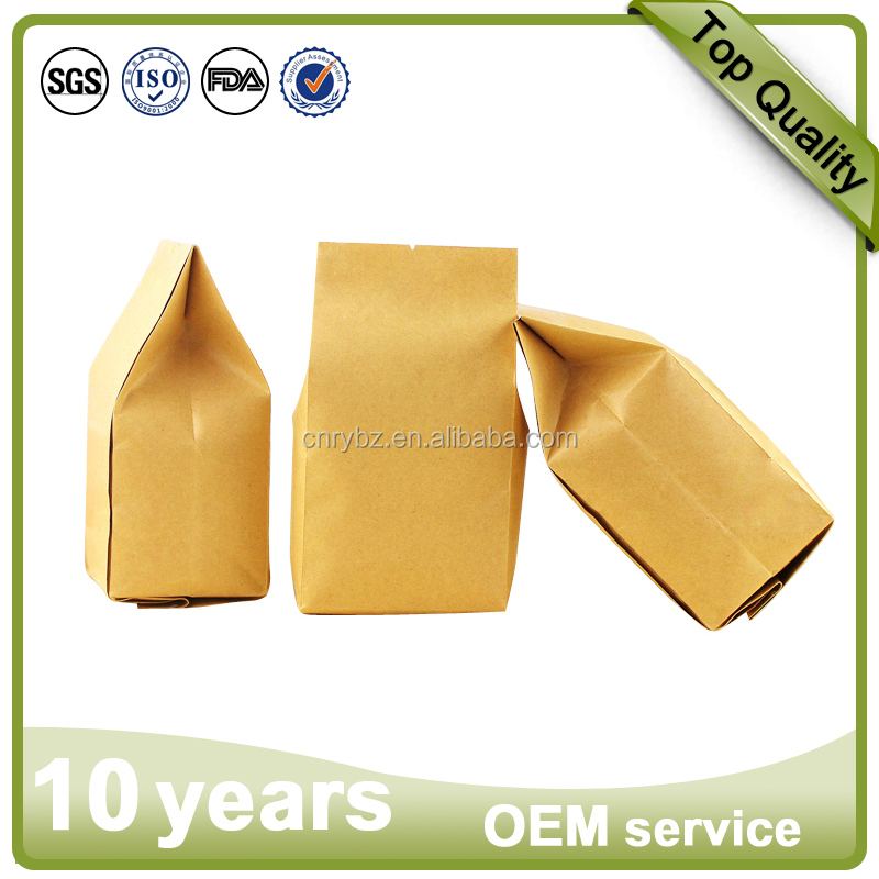 500 X KRAFT PAPER FLAT BOX BOTTOM POUCH BAGS, EIGHT SIDE SEAL, VARIOUS SIZES