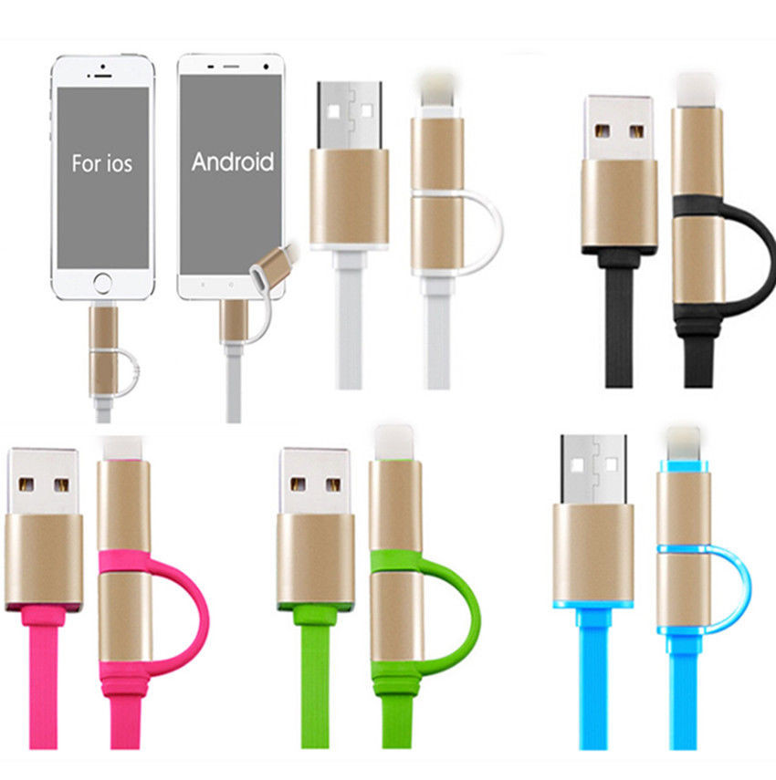 2 in 1 USB Recharge Cable Data Line Power Adapter For Mobile Phone