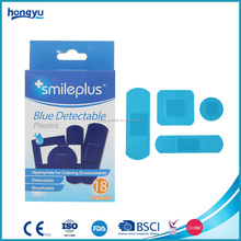 China Supplier personal care food industry blue plastic detectable wound plaster