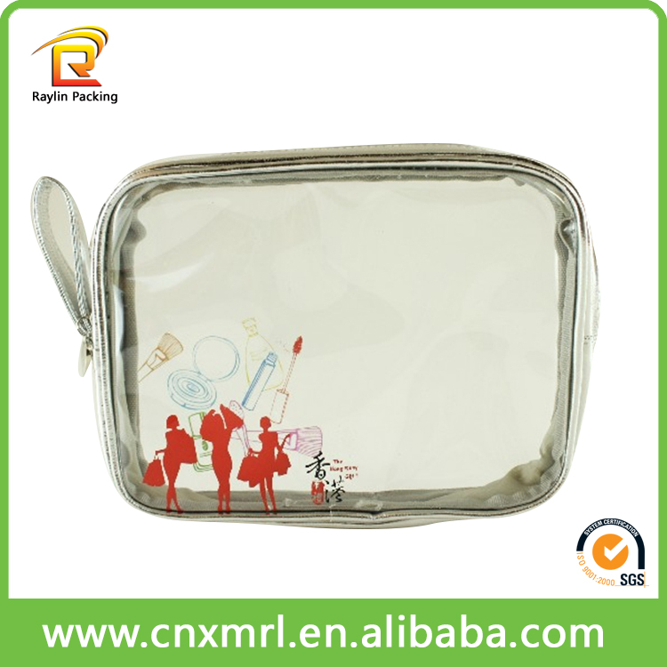 Promotional logo printed clear plastic cosmetic bags with handles
