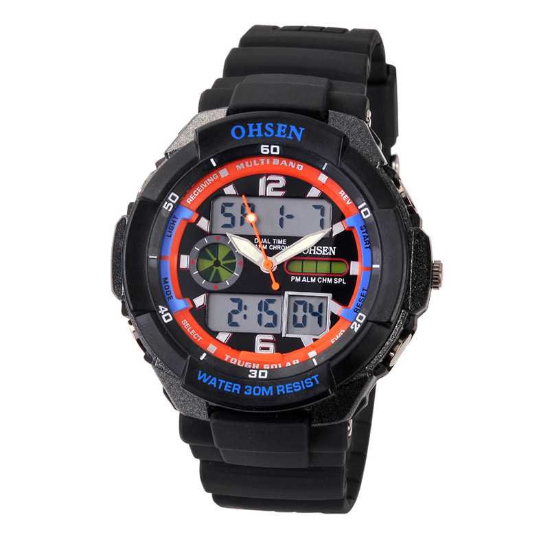 High quality men/women OHSEN 30M deep waterproof sports dive watch digital analog dual movement