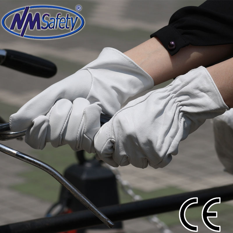NMSAFETY mens gray goat leather gloves for bike for motorbike