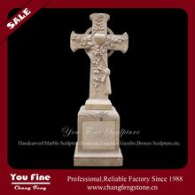 Antique Excellent Carved Cross Marble Tombstone