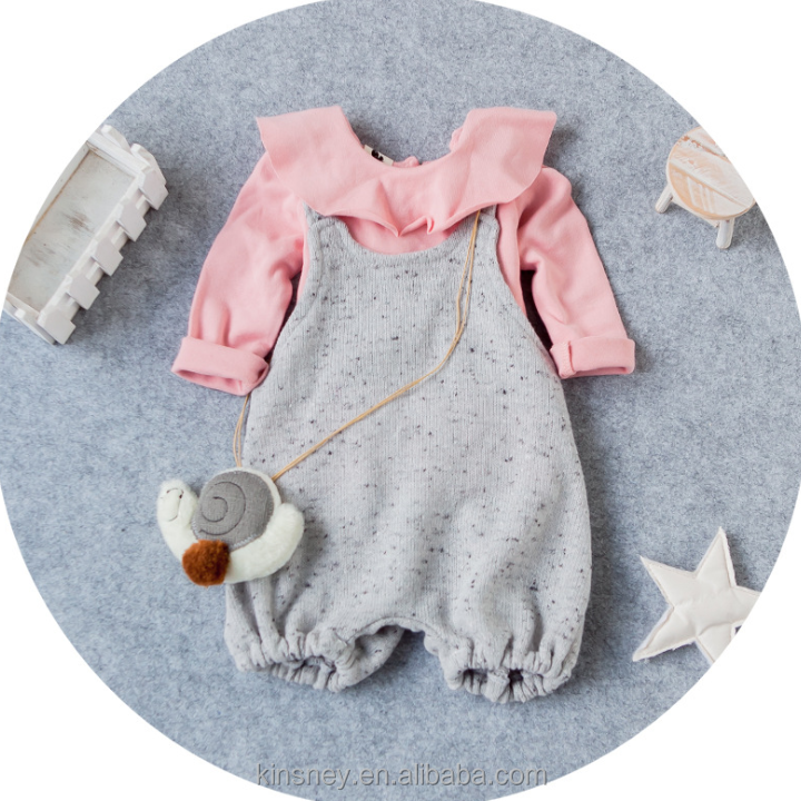 KS21081G Korean style clothing sets cotton long sleeved shirt + knitted suspender pant for girls