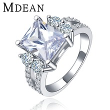 MDEAN White gold plated vintage rings For Women Square CZ diamond wedding ring fashion engagement free shipping MSR125