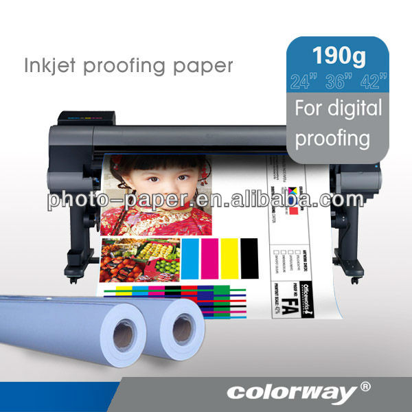 Best sales ! 190g Semi-glossy RC Inkjet Proofing Paper for Prepress