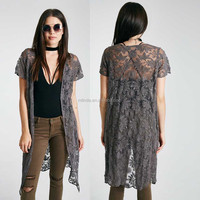 Women Long Crochet Cardigan Embroidered Sheer Duster Kimono Summer Women Floral Kimono Cardigan Robe Jacket Blouse Tops