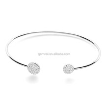 Diamond double disc bangle cheap 925 sterling silver jewelry cuff bracelet