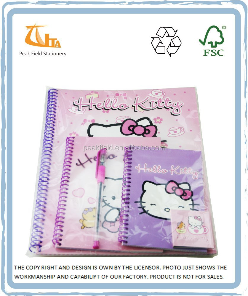 Chinese Wholesale School Kids Stationery Set (A4 notebooks A5 note book A6 note book key chain note book and ball pen)