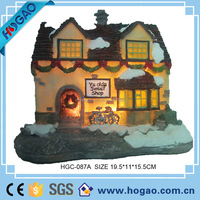 china polyresin ornament led unpainted christmas village houses resin