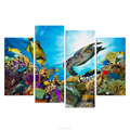 Canvas Art Underwater Sea Fish Coral Reefs Canvas Print Turtle Picture Creative Room Decor Wall Poster Pictures for Hotel-4pcs