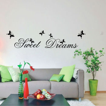 ZooYoo Original Sweet Dream With Butterflys English Motto Wall Art Quote Wallpaper - Ebay/Amson Hot Sale Wall Decal