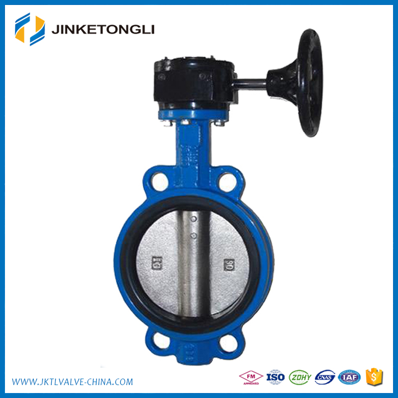 long neck butterfly valve with manual gearbox