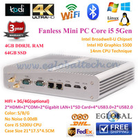 Mini PC Game PC 5th Generation Broadwell Intel Core i5 5200U HTPC 0.00dB 4GB Ram 64GB SSD 2*HD MI 2*Nics DHL Free Shipping