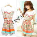 2013 summer New Colorful Stripes Chiffon mini Dress Free Bowknot Belt Women's Sleeveless Dresses FJ-2691