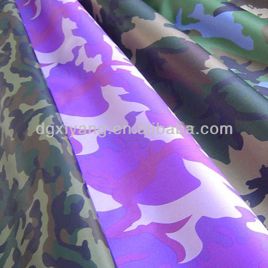 Camouflage oxford fabric coated with 100% polyester printing