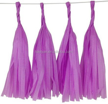 Handmade wedding party favor tissue paper tassel garland purple color