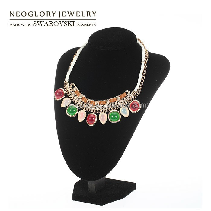 Multi Color KC Gold Plated Resin Pendant Necklace With Pink Crystal