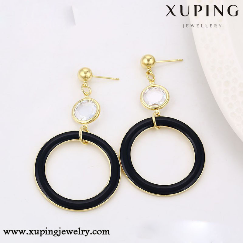 91237 xuping dangle earring, 14k gold color hanging stud earrings,