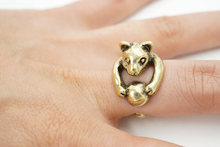2016 fashion design animal kitty Rolling Ball model 925 silver gold animal head ring