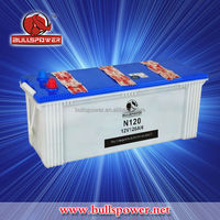 20% Discount auto battery dry charged battery N120 korean car battery