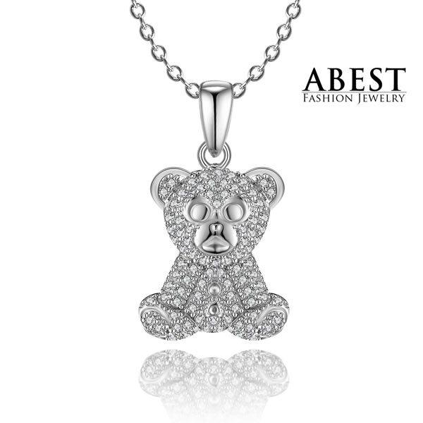 Elegant Beautiful Bear White Zircon 925 Sterling Silver Fashion Design Pendant Jewelry Wholesale Pendant