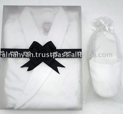 100% Cotton Uni-Sex Shawl Collar Bathrobe + Slipper Set
