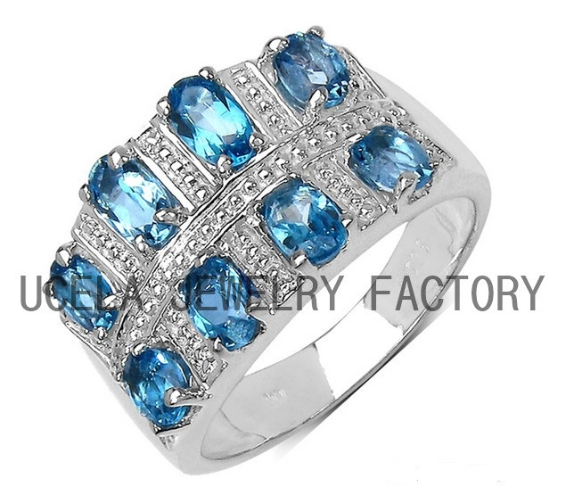 Top Quality 925 Silver London Blue mystic Topaz Ring silver cocktail ring