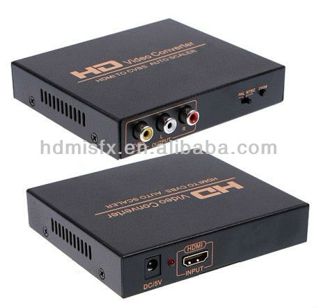 HDMI TO AV Converter, HDMI to Composite AV CVBS R/L HD Video Converter Adapter, HDMI TO CVBS Converter +Wrantty date(two years)