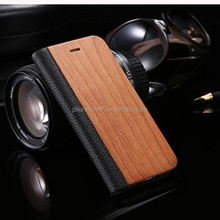 Hot Selling Wood Grain Design Flip PU Leather Cover Smart Cell Phone Case for iphone 6s