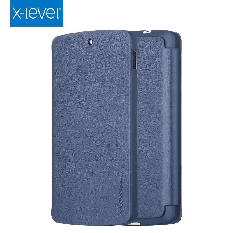 X-Level Deluxe Flip PU TPU Leather Mobile Case for LG Nexus 5 Embossed Logo Phone Case
