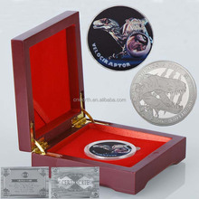 WR Souvenir Velociraptor Dinosaur Silver Plated Coin with Big Wooden Box for Collectible Father's Day Gifts