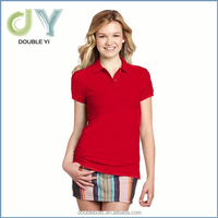 Great fit, 2 button rib collar lady's polo shirt