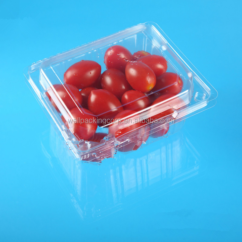 Retangular disposable plastic cherry tomato, strawberry packing box