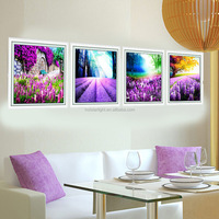new design 5D lavender 4pcs set canvas art painting for living room
