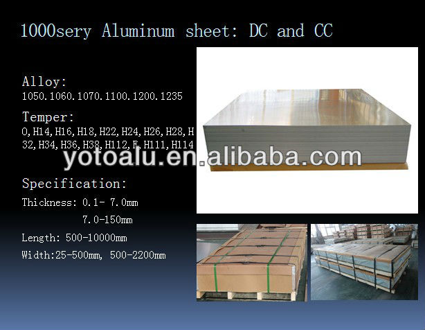 Hot rolled 1100/3003/5052/5005/5754/5454/5083 thick aluminum plate