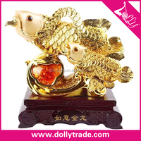 top design decorative gold plated koi fish statue for wholesale