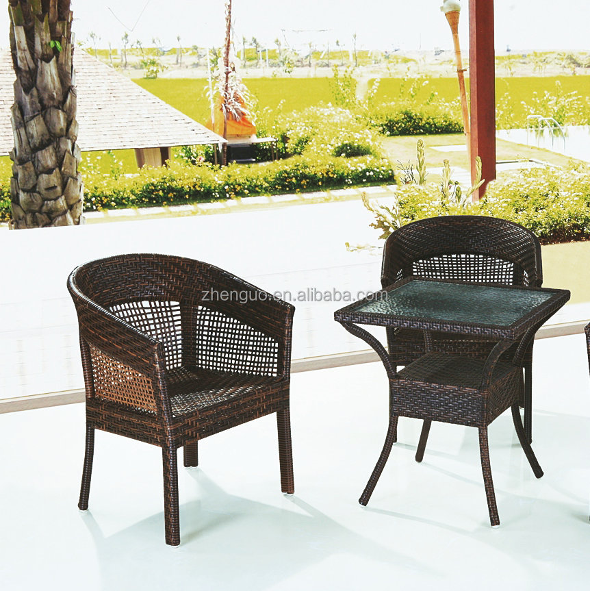 Waterproof imitation PE rattan garden coffee outdoor cafe chairs and table
